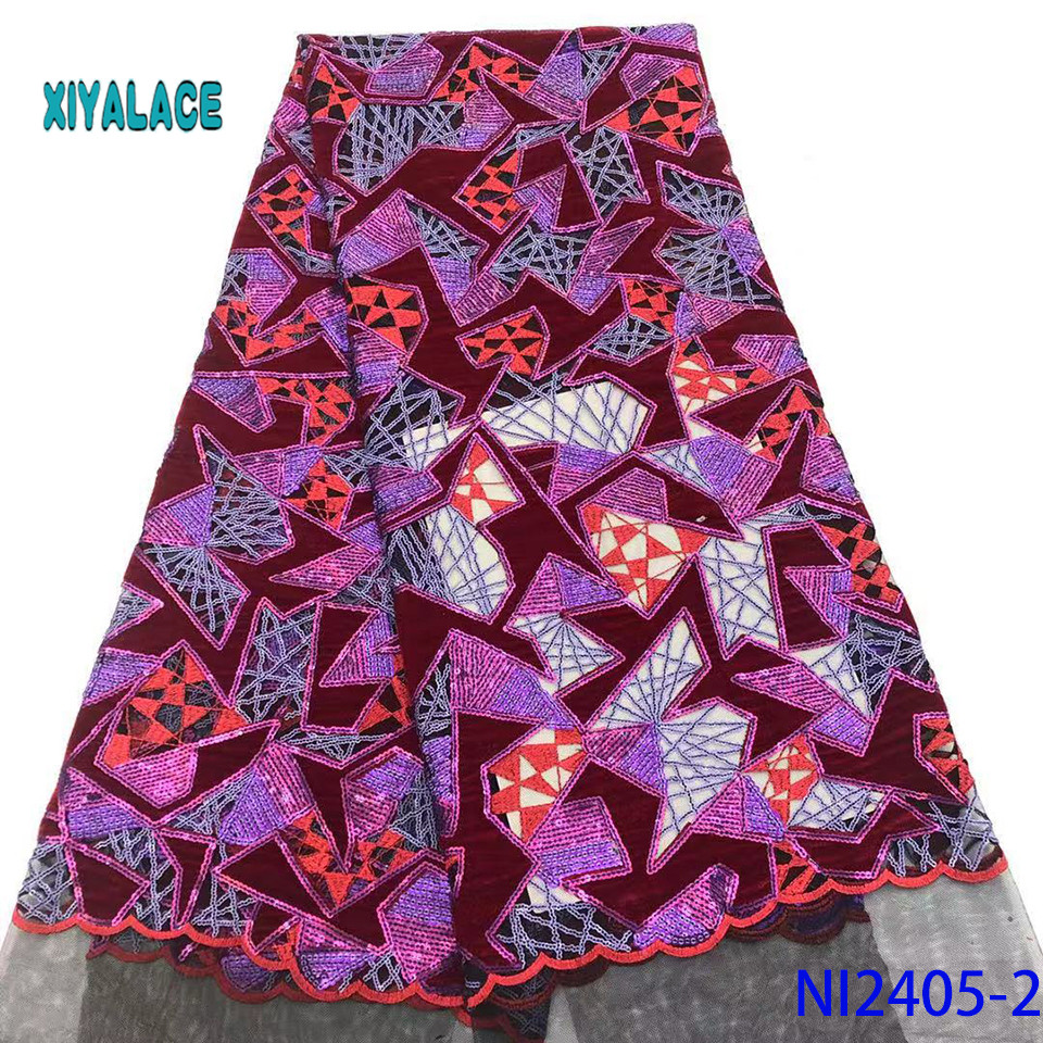 High Quality Most Popular New Style African Lace Fabric Sequins Applique Lace For Wedding Bridal Dress Lace Fabric YANI2405B-2