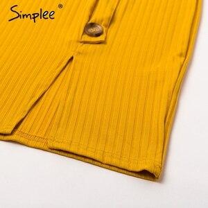 Image 5 - Simplee סקסי נדן נשים המפלגה שמלה גבוהה מותן v צוואר יחיד חזה חורף שמלה ארוך שרוול ליידי סתיו עבודה ללבוש vestidos