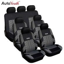 7 sztuk śledzić szczegóły Style zestaw pokrowców na siedzenia samochodowe tkanina poliestrowa uniwersalny pasuje do większość samochodów obejmuje pokrowiec na fotel samochodowy