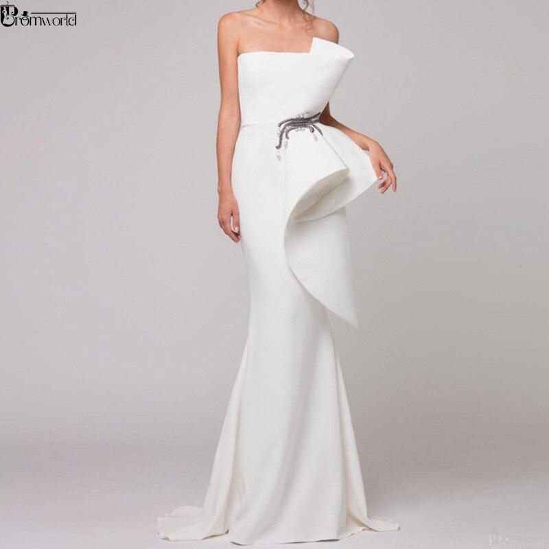 Elegant Formal Dress White Evening Dresses 2019 Satin Ruffles Beaded Dubai Arabic Mermaid Evening Gown Long abendkleider