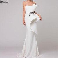 Elegant Formal Dress White Evening Dresses 2020 Satin Ruffles Beaded Dubai Arabic Mermaid Evening Gown Long abendkleider