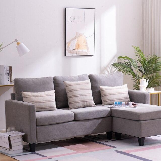 Two Colors  Double Chaise Longue Combination Sofa  Model Room Sofa Set (194 x 126 x 89)cm for Livingroom 4