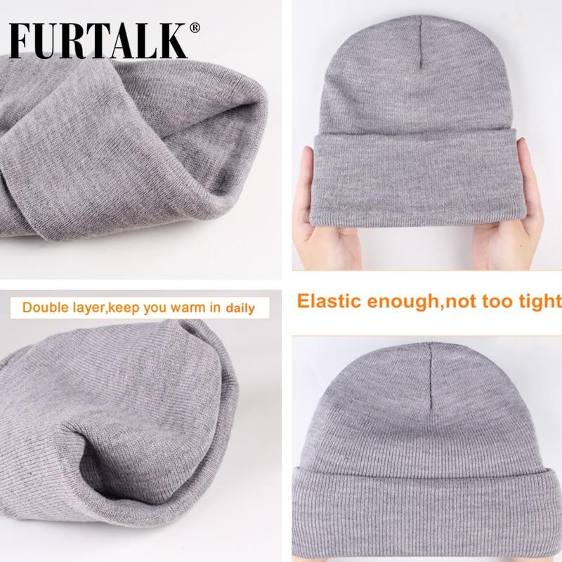 FURTALK Beanie Hat for Women Men Winter Hat Knitted Autumn Skullies Hat Unisex Ladies Warm Bonnet Cap Korean Black Red Cap 4