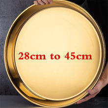 Ouro de aço inoxidável grande bandeja redonda placa grossa servindo bandeja plater bife prato jantar servindo bandeja bbq grill carne pratos