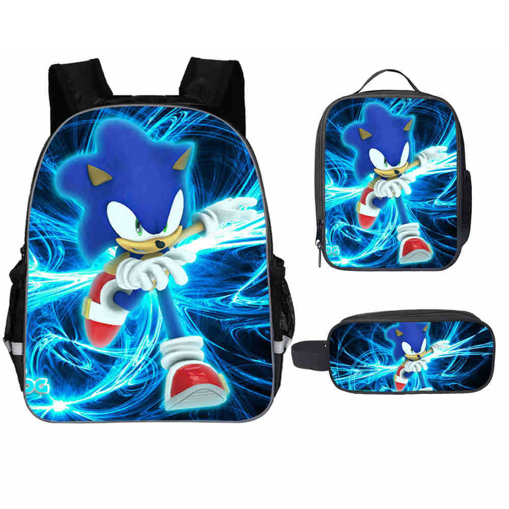 New Fashion 3PC/Set Backpack Hot Game Sonic 4 The Hedgehog Pattern Students School Bags Cartoon Anime Teenagers Book-Bags Set