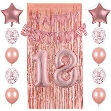26 pçs 18/20/25/30/40th número feliz aniversário balões folha rosa ouro confetes látex balões cortina de chuva decoração da festa de casamento
