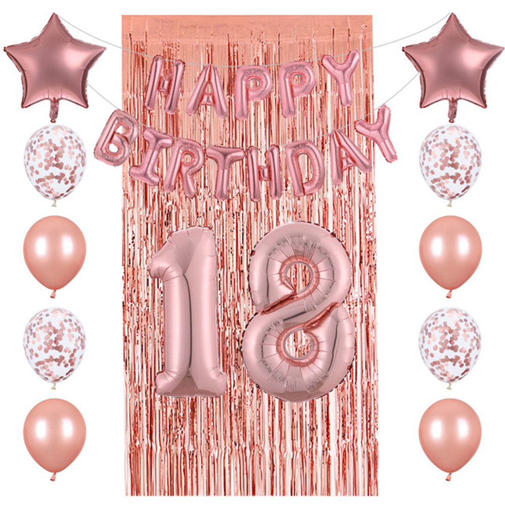 26pcs 18/20/25/<font><b>30</b></font>/40th Number Happy <font><b>Birthday</b></font> Foil Balloons Rose Gold Confetti Latex Balloons Rain Curtain Wedding Party <font><b>Decor</b></font> image