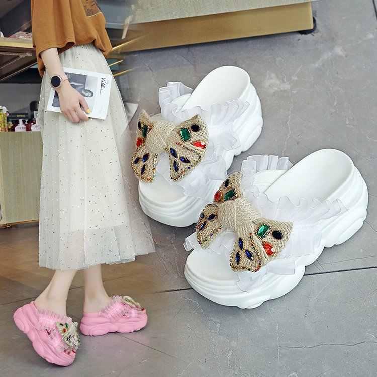 2020 ผู้หญิงรองเท้าแตะเลดี้สีเหลืองรองเท้าแตะฤดูร้อนแบนรองเท้าแตะฤดูร้อนวันหยุดชายหาดรองเท้าในร่มแบบสบายๆ Flip Flops