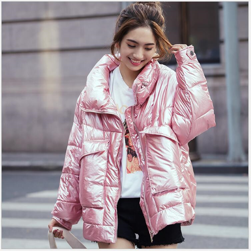 5 Colors 2019 Winter Jacket Women Short Glossy Down Cotton Padded   Parkas   Bright Shiny Warm Thick   Parkas   Female Coats S21