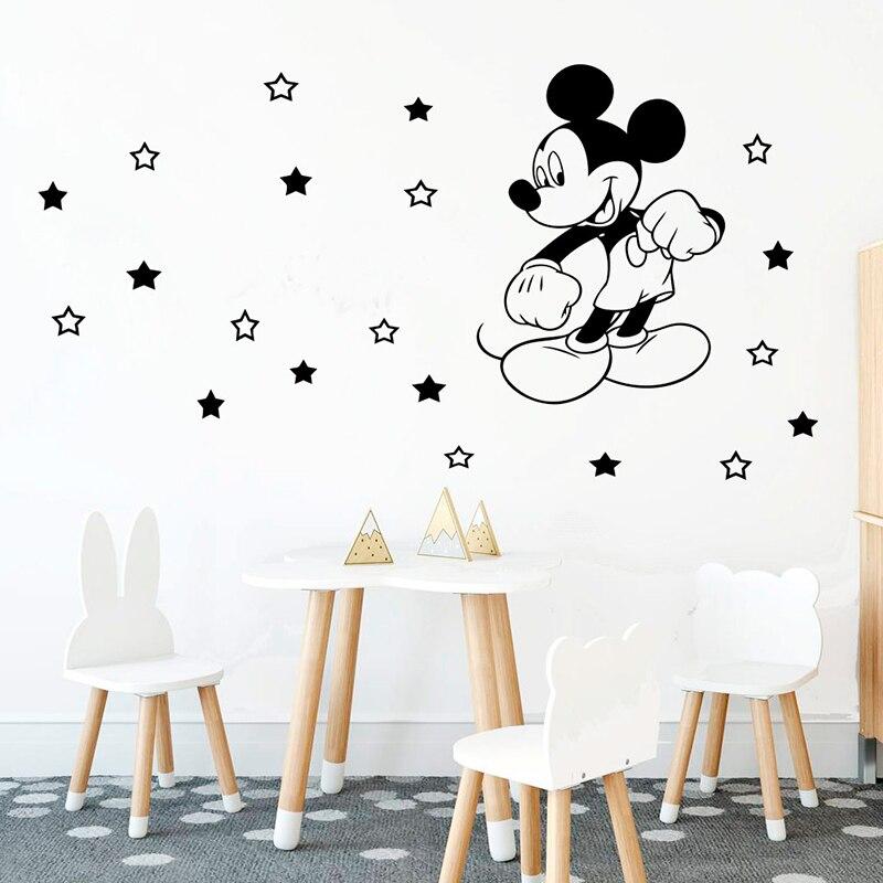 Mickey Mouse Para Niños Niños Dormitorio Decoración Pegatinas De Pared Calcomanías bebé vivero