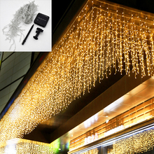 Icicle Solar Lamp 4M Width Droop 0.6m Outdoor Garland Solar String Lights Garden Decoration Mall Eaves Decorative Lights