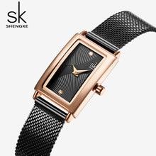 SHENGKE Moda Retângulo Dial Quartz Relógios das Mulheres Marca de Luxo relógios de Pulso Lady Relógio Relógio Banda Malha De Aço Inoxidável Preto