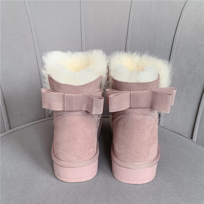 MORAZORA 2020 new hot sale snow boots comfortable flat heel round toe rivets winter shoes keep warm sweet pink ankle boots women 53
