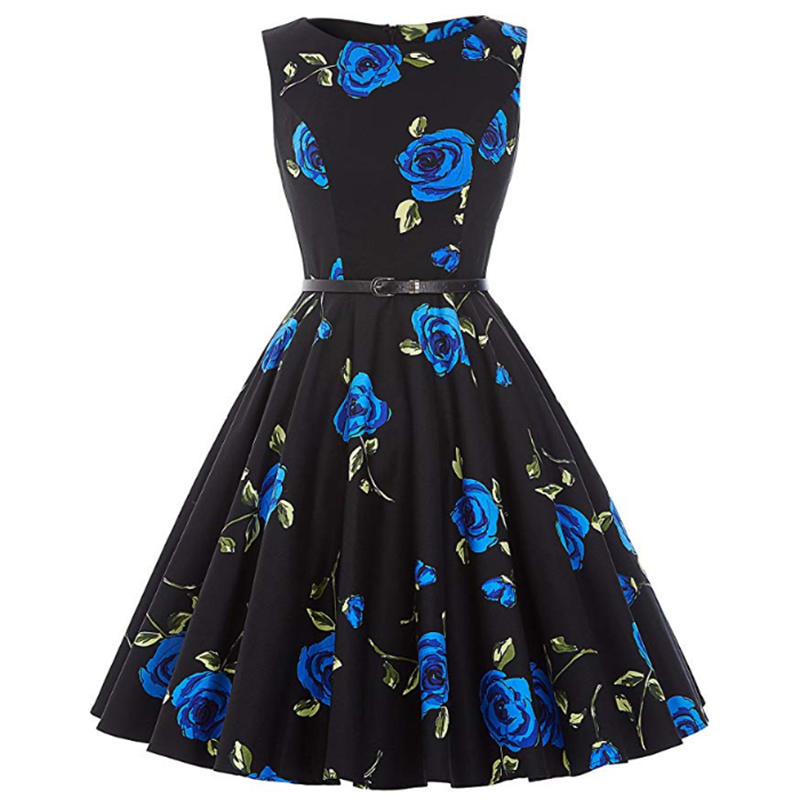Summer's Most Popular Women's Petticoat Style 50's Retro Noble Cold Style Round Neck Sleeveless Dress