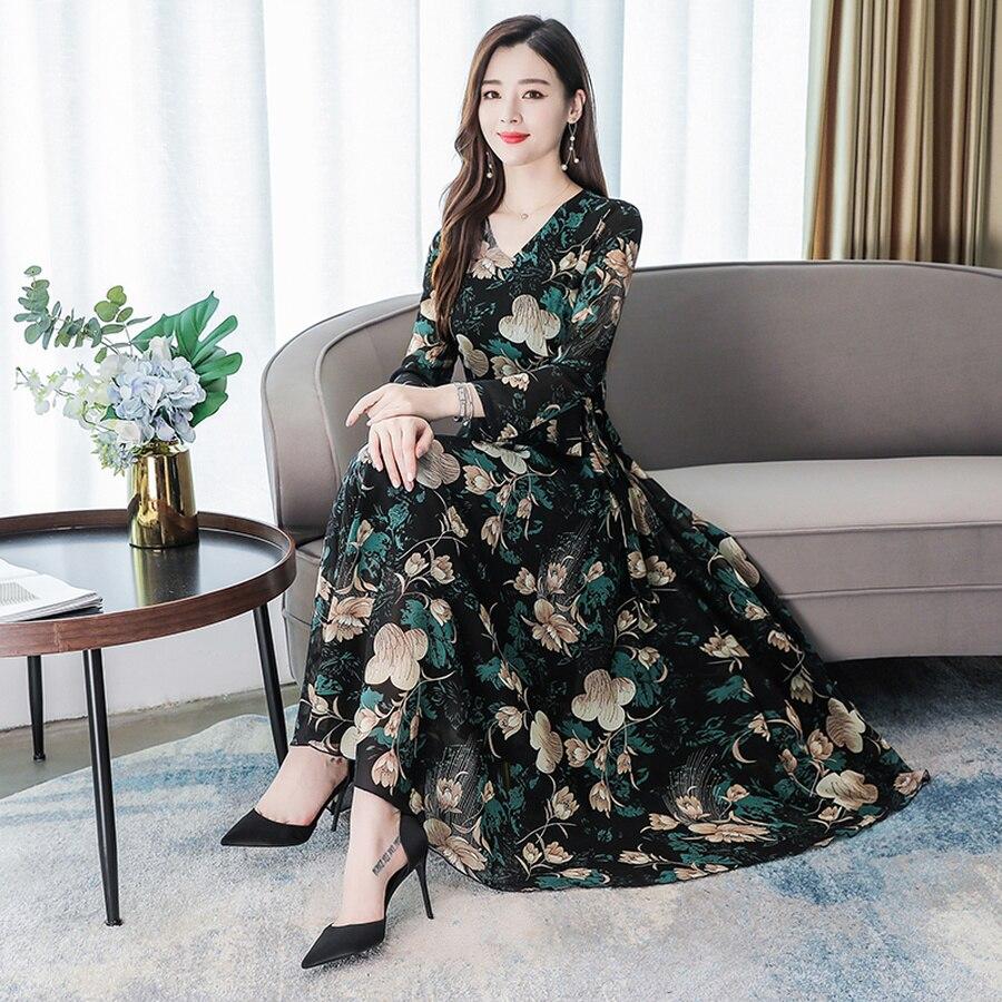 2019 Vintage 3XL Plus Size Floral Chiffon Beach Midi Dresses Autumn Winter Long Sleeve Maxi Dress Women Elegant Party Vestidos 2