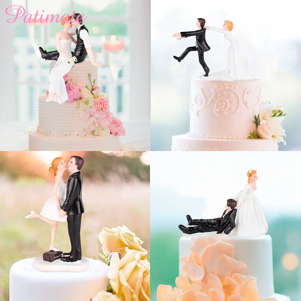 PATIMATE Resin Wedding Decoration Bride And Groom Figurines Dolls Oranments Table Party Supplies