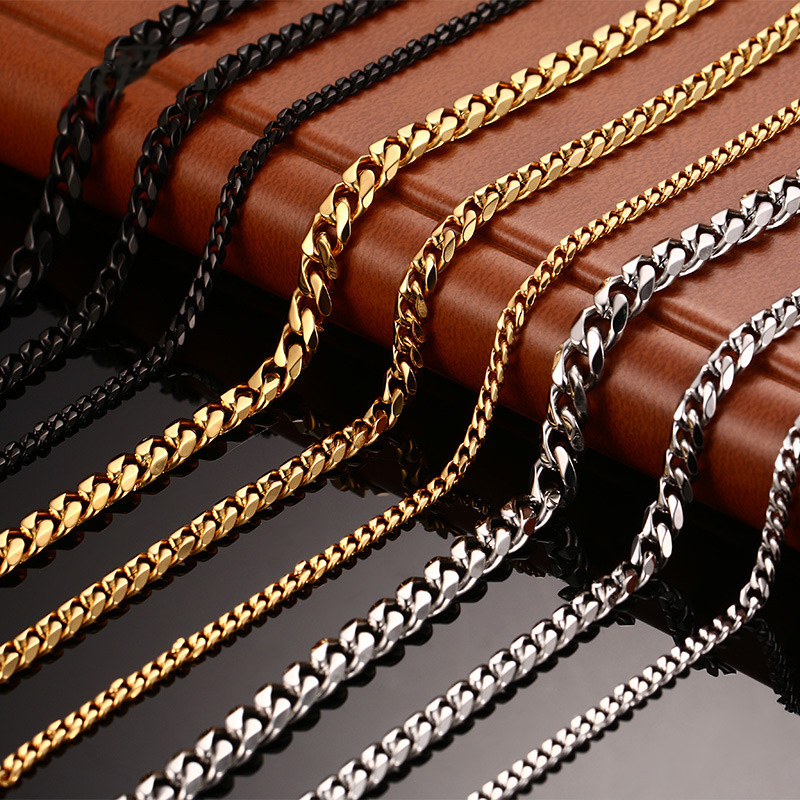 stainless steel mens necklace charm curb cuban link chains necklaces man hip hop punk jewelry Rock wholesale male accessories