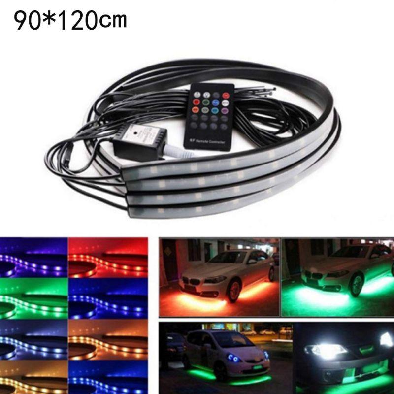 4PCS Flexible Strip Light Underglow Flexible Strip Light RGB Decorative Atmosphere Under Lamp Car Chassis Underbody System Light