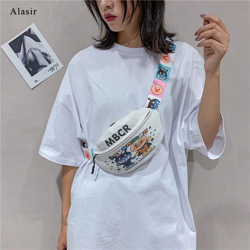 Alasir Cartoon Waist Bag Letter Designer White Funny Pack For Women Canvas Chest Bags Casual Fashion Hiphop Girl