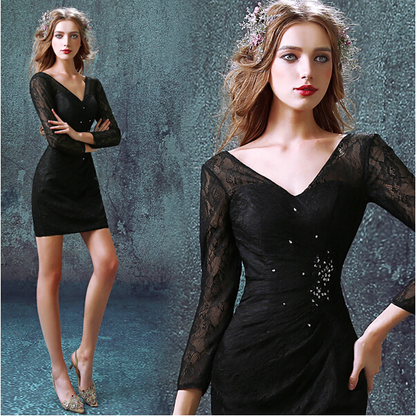 Three Quarter Sleeve 2018 New Style Vestido De Festa Sexy Prom Gown Black Lace Short Mini Party Mother Of The Bride Dresses