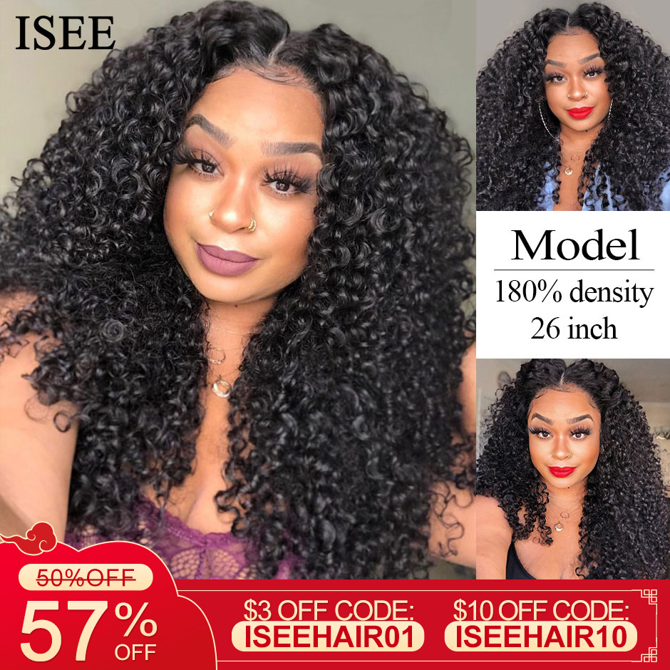 Water Wave Human Hair Wigs 13X4 Lace Front Wigs For Women ISEE HAIR 150% Density Mongolian Water Wave Lace Front Human Hair Wigs