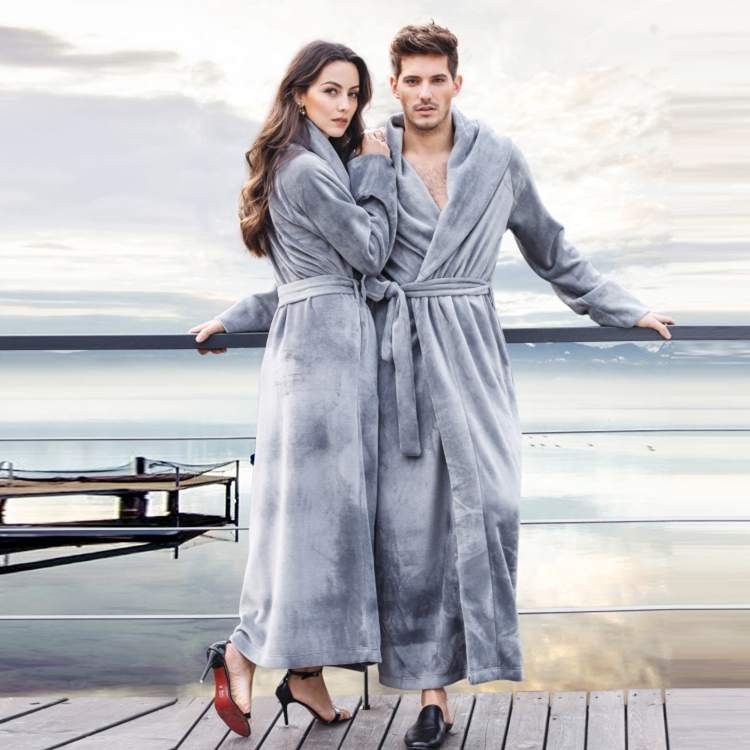 Women And Men Ultra Long Ultra Thick Coral Fleece Flannel Full Length Plus Size Bathrobe Robes Sleepwear Loungewear Nightgown