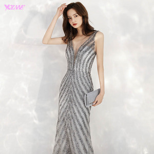 Image 4 - 2020 New Arrival Elegant V Neck Gray Long Evening Dresses Mermaid Sequined Beads Dress Party Evening Gowns