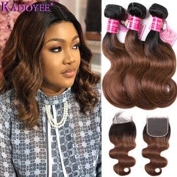 """Brazilian Hair Weave Bundles With Closure Body Wave Human Hair 3Bundles With Closure Remy Hair Ombre Color Hair Bundles 8""""-26"""""""