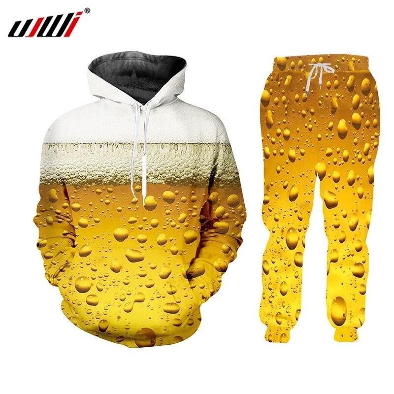 Ujwi 여성/남성 옐로우 조깅 바지 운동복 바 맥주 폼 트랙 슈트 트레이닝 복 hoody creative streewear two piece set