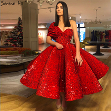 Red Sequined One Shoulder Sexy Evening Dresses 2020 Sleeveless Luxury Ankle Length Formal Dress Serene Hill LA70021
