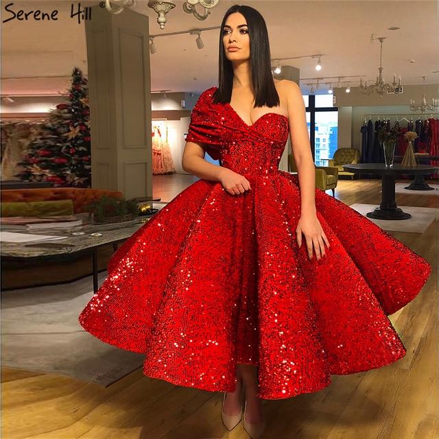 Vestido de noche rojo de un hombro con lentejuelas, Sexy, sin mangas, hasta el tobillo, de lujo, Formal, Serene Hill, LA70021, 2020