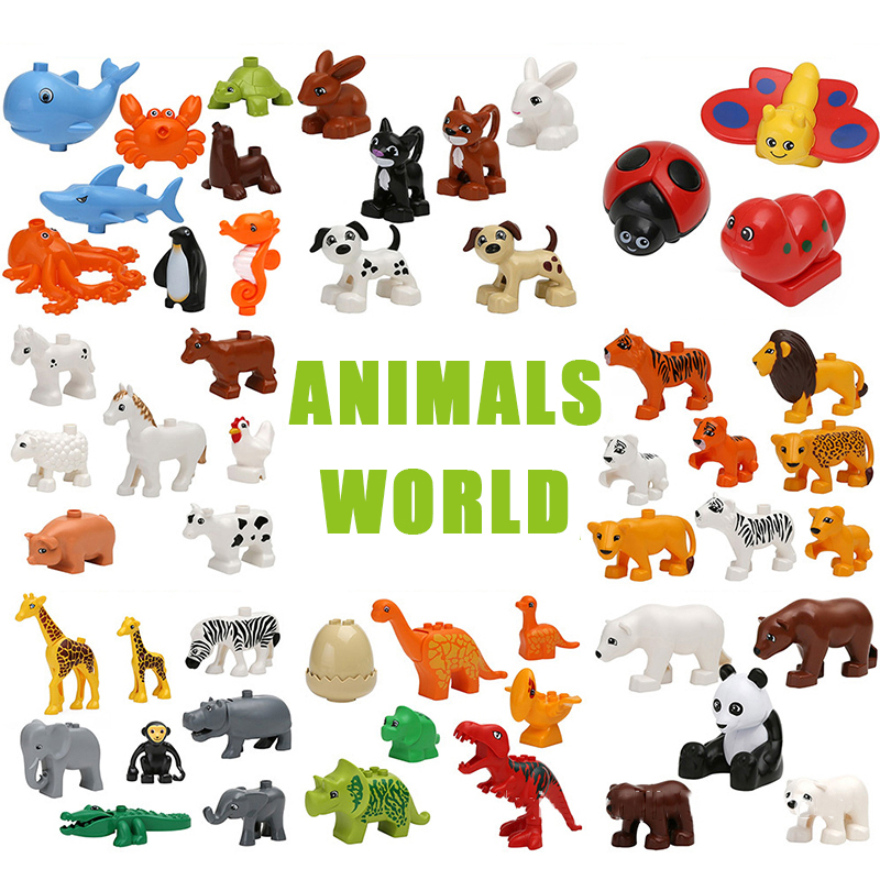 Big Animal Figures Compatible big Size Building Block DIY Cartoon Animal Brick Educational Toy For Children Xmas Gifts