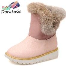DORATASIA New Hot Sale 32-43 Platform Fur Booties Ladies Winter Warm non-slip Ankle Snow Boots Women 2019 Wedges Shoes Woman