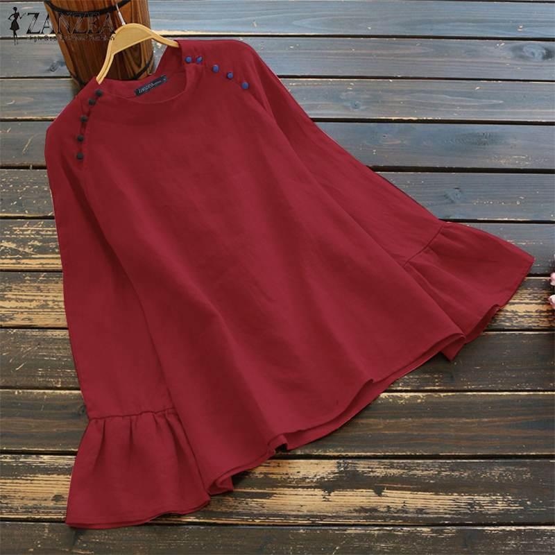 ZANZEA Осенняя женская блузка из хлопка и льна, винтажная рубашка с длинным Расклешенным рукавом, Blusas, Повседневная однотонная туника с круглым вырезом и пуговицами, топы размера плюс|Блузки и рубашки|   | АлиЭкспресс