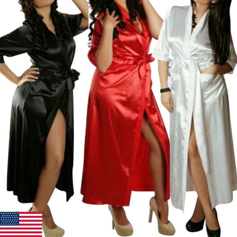 סקסי גבירותיי נשים כותונת משי סאטן תחרת הלבשה תחתונה פיג 'מה קימונו הלבשת גלימה ארוכה שמלה