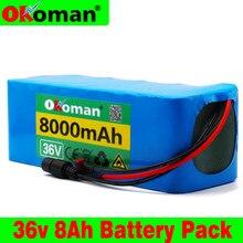 Okoman 36v 10s3p 8ah 500w alta potência capacidade 42v 18650 bateria de lítio 8000mah bicicleta elétrica scooter bms