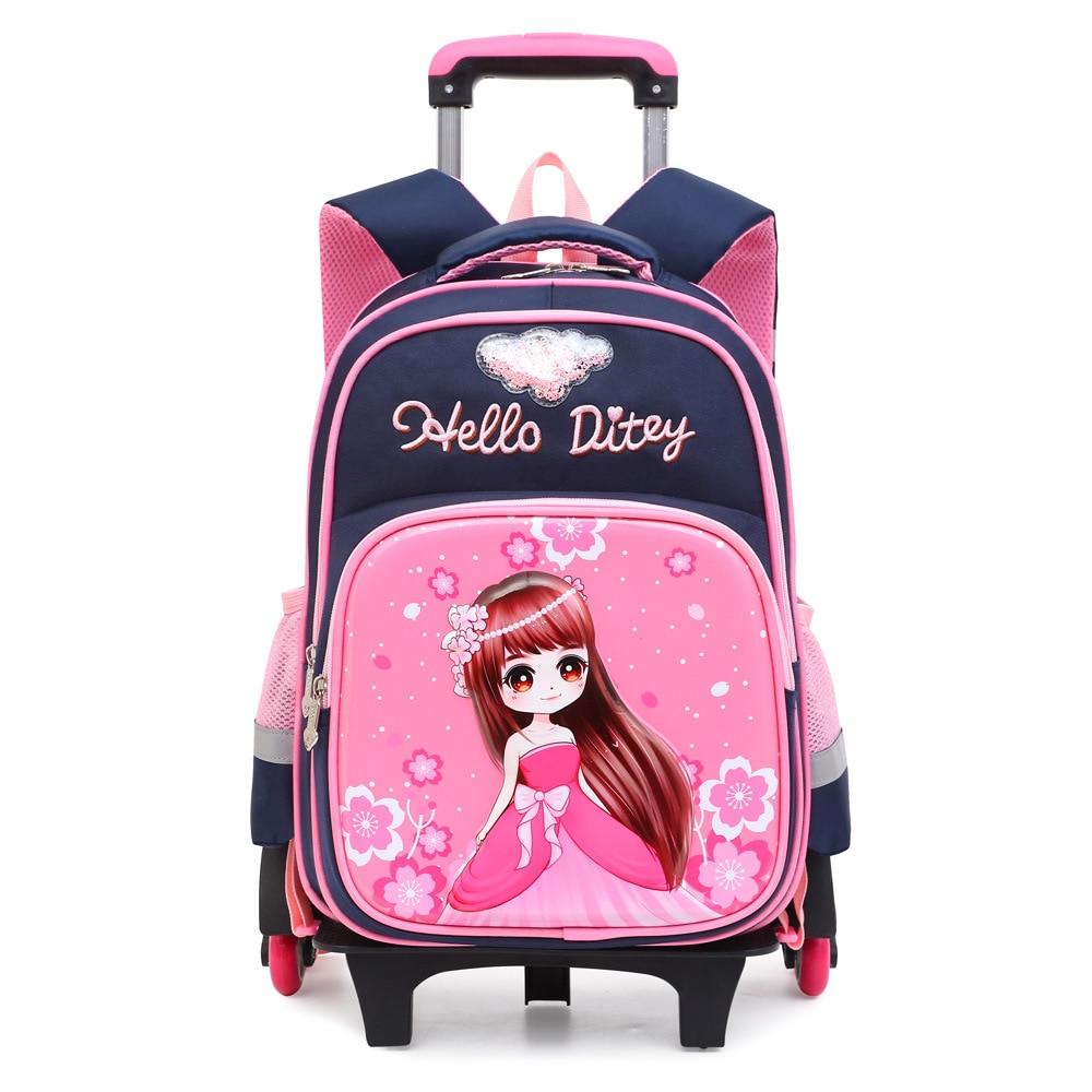 Trolley Bag Peace Elite Young STUDENT'S Children Trolley Bag 1-3-6 Grade School Bag Waterproof Durable Wear-Resistant