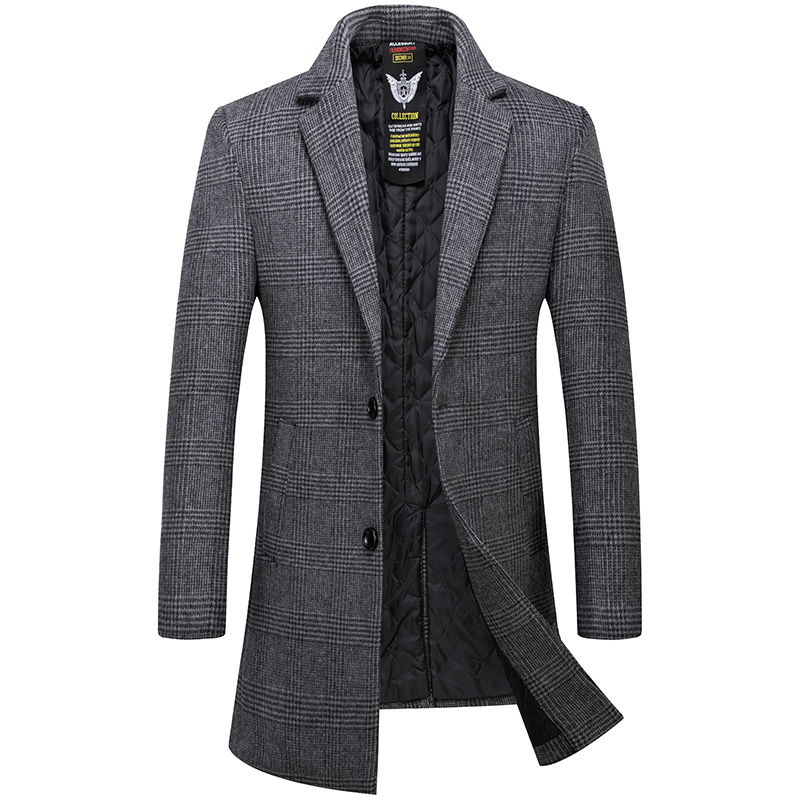 Mens Overcoat High Quality Wool Trench Coat Men Casual Men's Coat In A Cage Gray Khaki Long Overcoat Men Woolen Men's Jacket