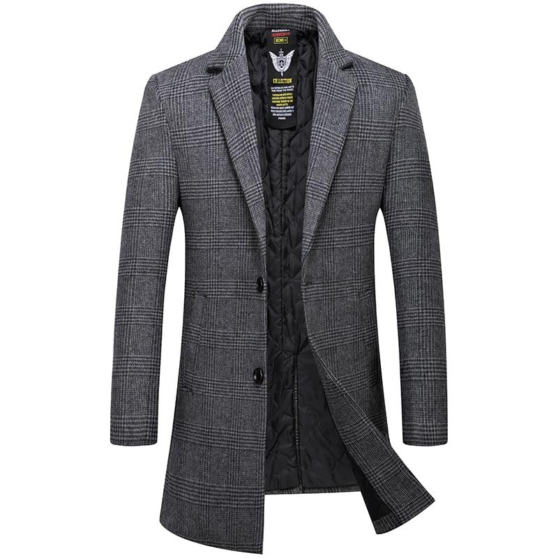 Mens Overcoat High Quality Wool Trench Coat Men Casual Men's Coat In A Cage Gray Khaki Long Overcoat Men Woolen Men's Jacket