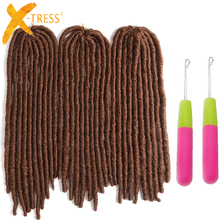 Brown Colored Straight Faux Locs 20inch X-TRESS Crochet Braids Dread Hairstyle Synthetic Braiding Hair Extensions Dreadlocks