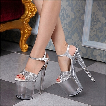 Glitter Bling Silver Crystal High heeled shoes 8 inches Fashion Elegant Models Stage Show Dress Women's sandals 20CM Work shoes