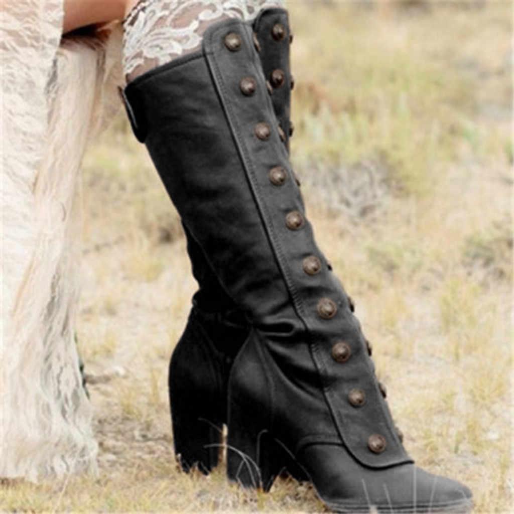 Botas de moda para Mujer Botas hasta la rodilla plataforma de remache Botas de tacón alto Sexy cremallera lateral zapatos de tacón alto Mujer Retro Botas Mujer #1015