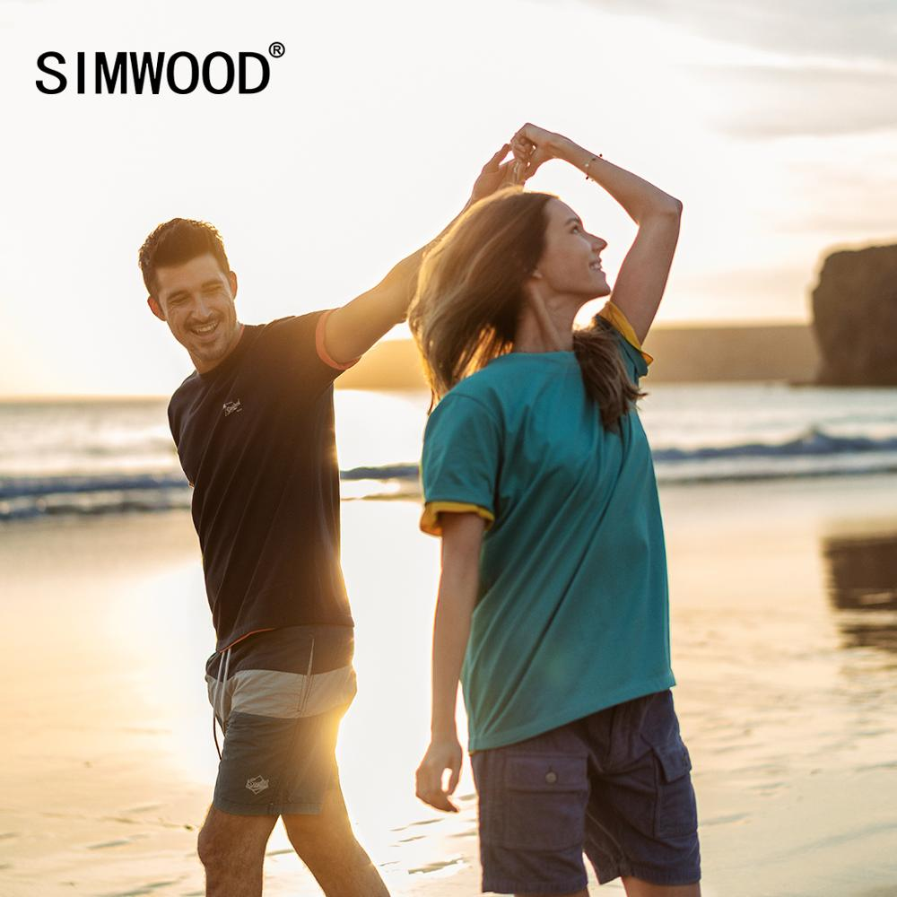 SIMWOOD 2020 Summer New Logo Print 100% Cotton T-Shirts Men Breathable Tops Classical Basic Matching Couples T Shirt SJ120093