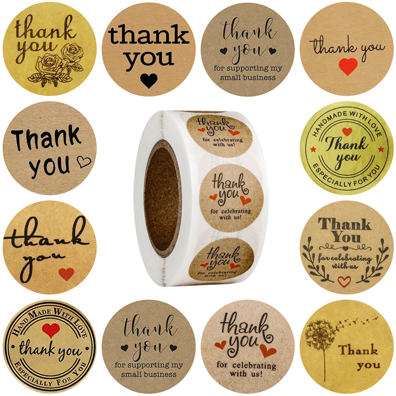 LBSISI Life 500pcs Love Kraft Paper Stickers DIY Handmade Backing Box Decoration Wedding Birthday Event & Party Gift Stickers