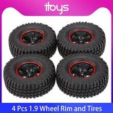 4 pièces pour AUSTAR AX-3020C 1.9 pouces 103mm 1/10 échelle pneus avec jante de roue pour 1/10 D90 SCX10 CC01 RC chenille de roche