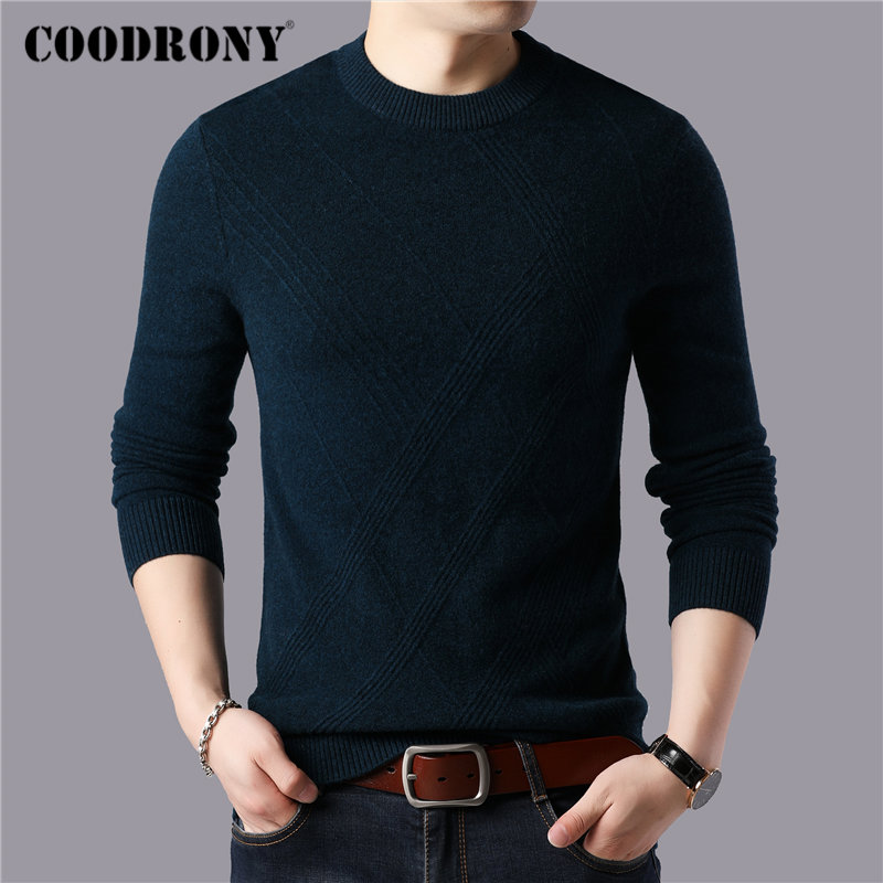 COODRONY Brand 100% Merino Wool Sweater Men Winter Thick Warm Sweaters Casual O-Neck Pull Homme Soft Cashmere Pullover Men 93045