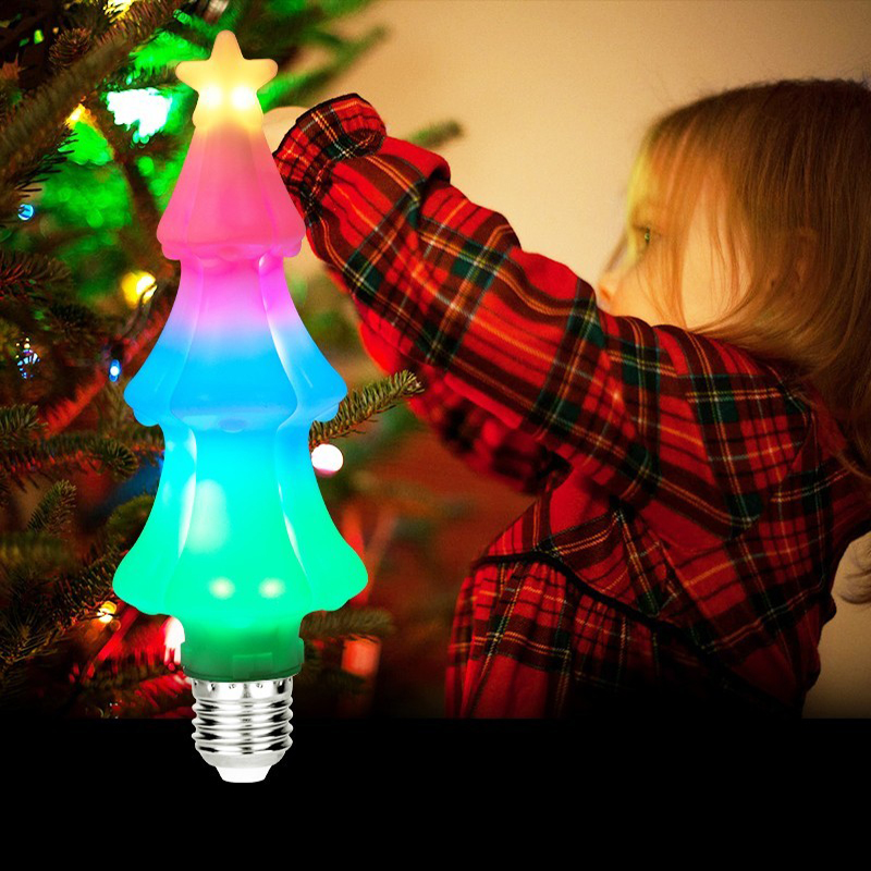 Christmas Tree Bulb LED Light E27 Lamp New Year Home Decoration Colorful Changing Night Light 3W Bulb Children Xmas Gift