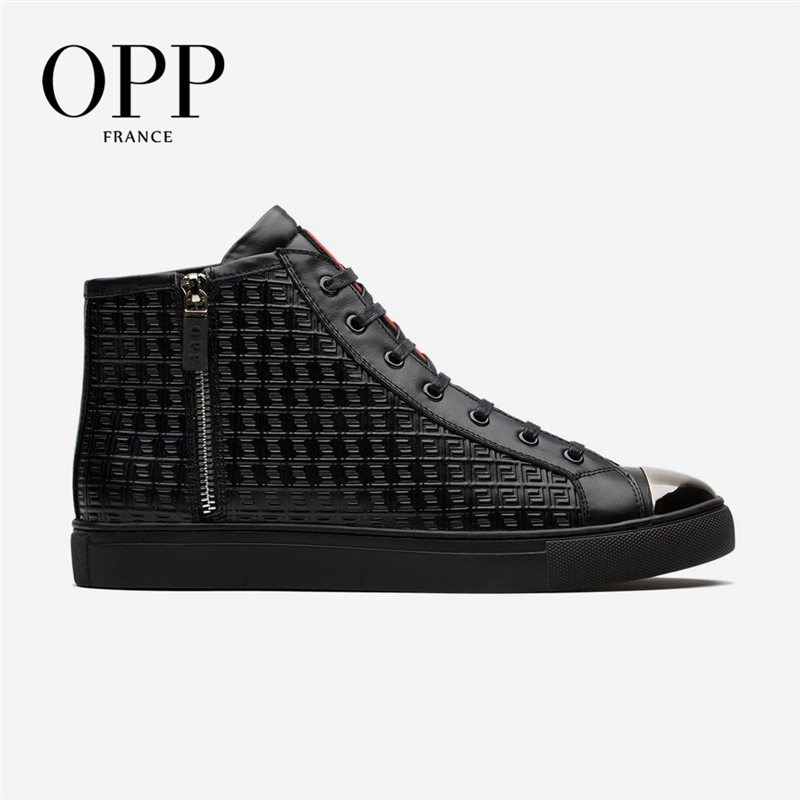 OPP Ankle Boots Motorcycle Punk Genuine Leather High-top <font><b>Shoes</b></font> <font><b>Men</b></font> Casual Leather <font><b>Shoes</b></font> For <font><b>Men</b></font> Boots <font><b>Shoes</b></font> <font><b>Winter</b></font> image