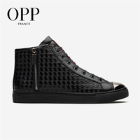 OPP Ankle Boots Motorcycle Punk Genuine Leather High top Shoes Men Casual Leather Shoes For Men Boots Shoes Winter
