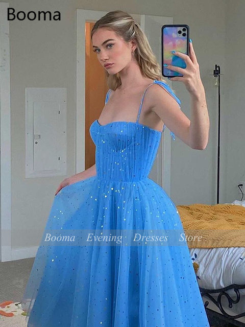 Fairy Blue Princess Prom Dresses Sparkly Starry Tulle Strapless Short Prom Gowns Pleated Tea-Length A-Line Formal Party Gowns 2